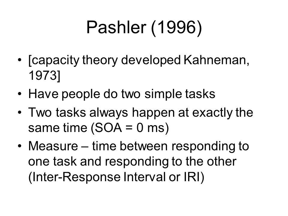 Pashler (1996) [capacity theory developed Kahneman, 1973]